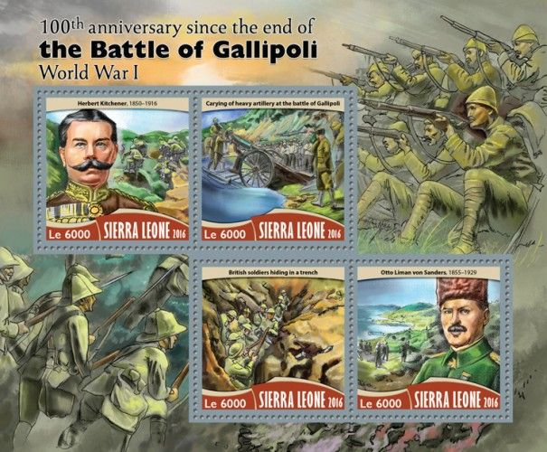 SRL16715a 100th anniversary since the end of the Battle of Gallipoli (Herbert Kitchener (1850–1916); Carying of heavy artillery at the battle of Gallipoli; British soldiers hiding in a trench; Otto Liman von Sanders (1855–1929))