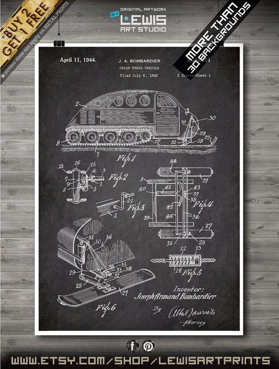 Ski-Doo poster 1944 Patent Ski-Doo print Ski-Doo by LewisArtPrints