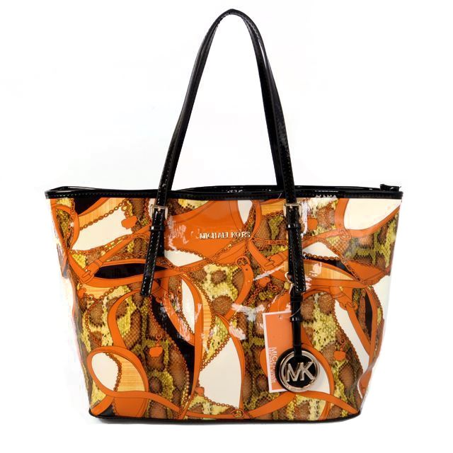 Michael Kors Jet Set Saffiano Travel Large Orange Totes Outlet