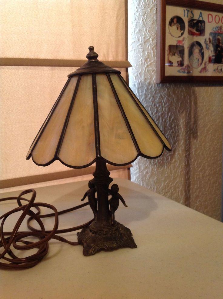 Vintage Tiffa Mini Lamp By L Amp L Wmc With Leaded Glass Shade