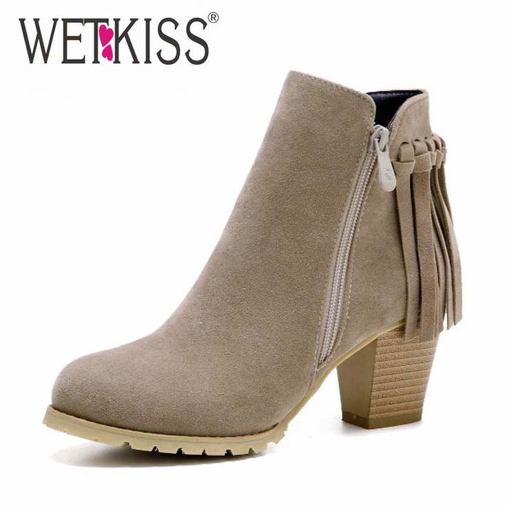Большой Размер 32 45 Ботинки Женщин Кисточкой Ботильоны дамская Толстая Высокие Каблуки Туфли На Платформе Женщина Весной Зима сапоги женские Обувь купить на AliExpress