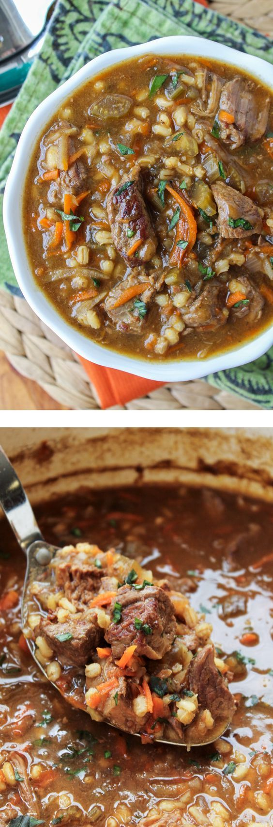 Beef Barley Crockpot Soup Recipe via The Food Charlatan