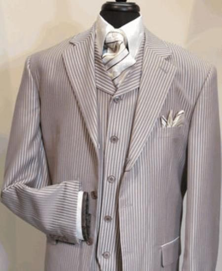 1940s mens grey pinstripe zoot suit. Mens Suit Three Button Single Breasted Suit jacket And Has Lined To The knee Pleated Pants Silver $199.00 AT vintagedancer.com