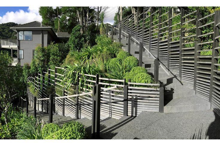Exposed aggregate insitu concrete steps, black stained timber retaining wall, timber slat screens, timber balustrade and New Zealand native planting on a steep Wellington hillside garden. Landscape. Garden. Design.