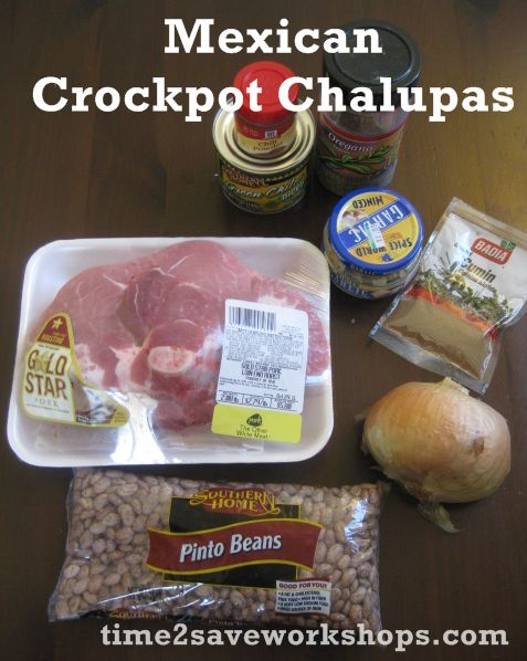 Mexican Crockpot Chalupas:  Start it in the morning and it'll be ready to spoon into your tortillas by party time!