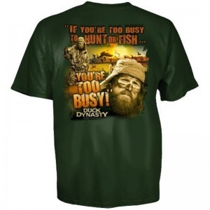 Duck Dynasty Mens Dark Green Too Busy T-Shirt