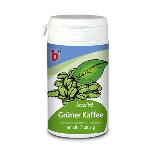 besavital Grüner Kaffee Kapseln - Nahrungsergänzungsmittel mit Vitamin C (20 mg/Kapsel) in einer Basis von grünem Kaffee-Extrakt.