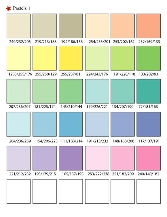 Printable rgb color palette swatches color matching Color combinations numbers