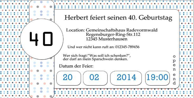 einladung geburtstag : einladung zum 40 geburtstag - Geburstag Einladungskarten - Geburstag Einladungskarten