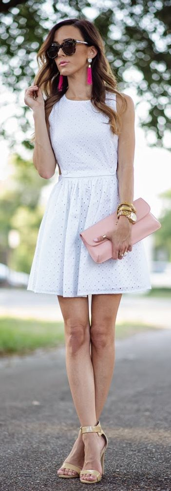 White Eyelet Dress Summer Style by Sequins & Things