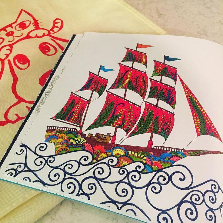Yelkenler fora ⛵️⛵️⛵️ #art #artwork #book #brightcolors #color #coloring #çiçek #cat #draw #drawing #dog #flowers #hobby #johannabasford #kitap #kedi #deniz #leaf #lostocean #painting #renkler #relax #therapy #yaprak #yelkenli #sailboat #köpek