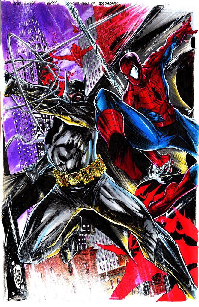 #Spiderman #Fan #Art. (Batman Vs Spiderman) By: Mike Lilly. (THE * 5 * STÅR * ÅWARD * OF: * AW YEAH, IT'S MAJOR ÅWESOMENESS!!!™)[THANK Ü 4 PINNING<·><]<©>ÅÅÅ+(OB4E)