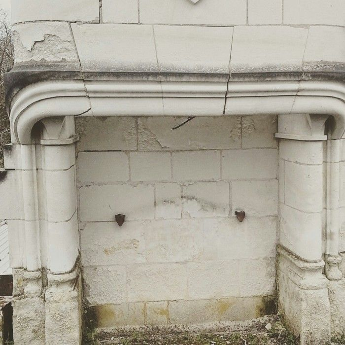 18th c FRENCH STONE FIREPLACE