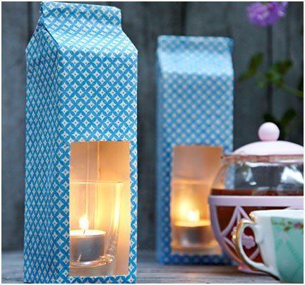 drinkkarton theelichtjes: drinkkarton als houder, bekleden met een mooi papiertje of stof of beschilderen.