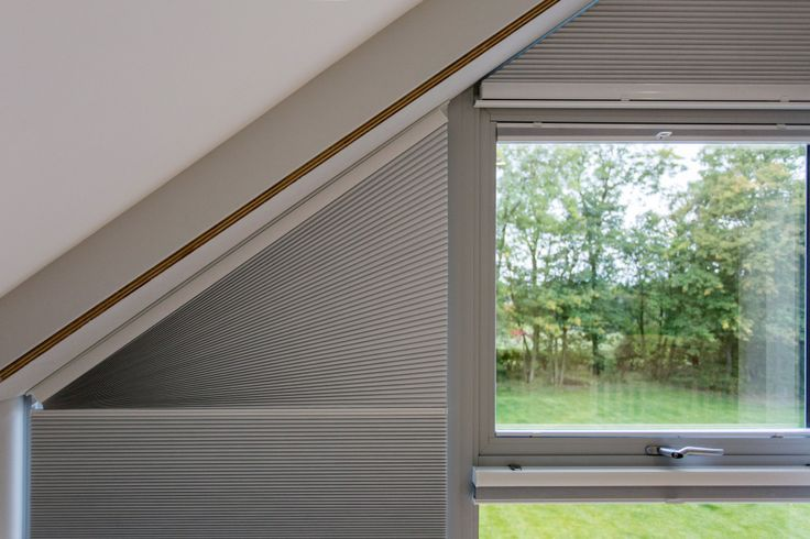 Blackout Duette Pleated Gable Blinds by Grand Design Blinds; Specialist in Shaped Blinds