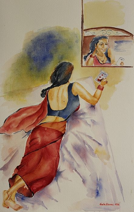 I Miss You #imissyou #missing #love #romantic #redsaree #saree #watercolor #art #painting #fineart #recliningwoman #fabric #folds #creases #whitelinen #bed #indianwoman #femaleback #sensuous #posture #mobile #bangles #mangalsutra #artprint #USD27