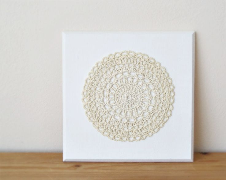 Mandala wall art, crochet doily wall decoration, fiber wall hanging, shabby chic home decor, wedding gift by DiaCrochets on Etsy