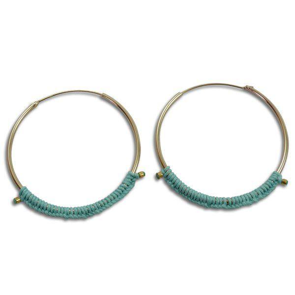 Sab : boucles d'oreilles dorées et vert lagon