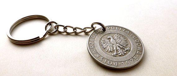 Polish Coin keychain Polish charm Coins Vintage by CoinStories