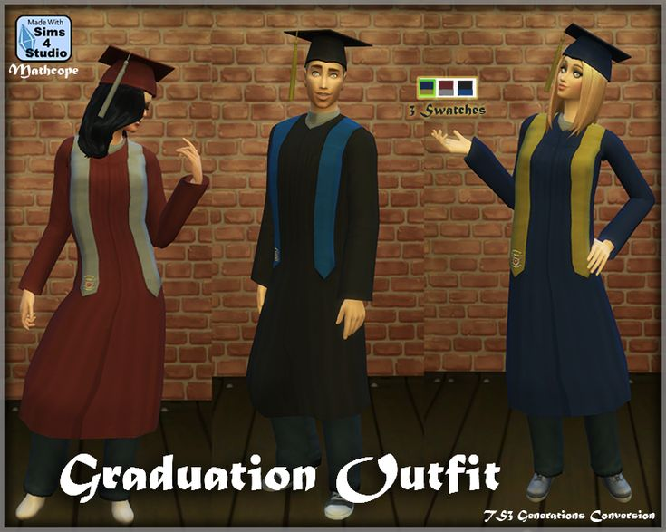 This was a request from @brittpinkie          . It is a conversion from the Sims 3 Generations graduation gowns. There is one for male and female in three diferent swatches (same samples EA