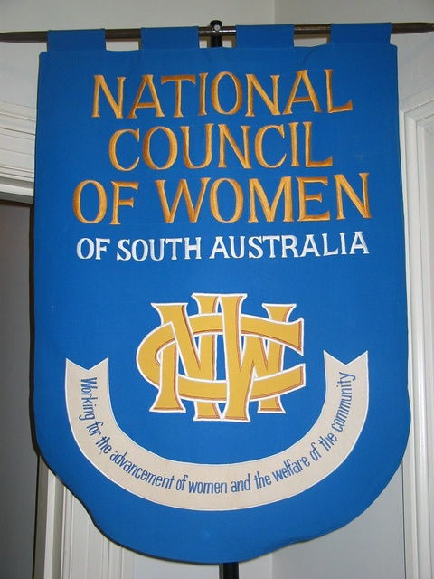 The National Council of Women of South Australia (founded 1902)  banner displayed in their headquarters at 95 South Terrace, Adelaide. Source: Community History SA. Via: @communityHistSA