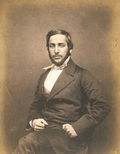 Victoria and Albert Museum: Portrait of Maharaja Duleep Singh; Horne & Thornthwaite; About 1850; London He is dressed and bearded according to the fashionable formal English style. He wears a dark double-breasted frock coat over a high buttoned light waistcoat. His collars are starched and upstanding, with a necktie tied in the distinctive 'four-in-hand' style where the corners of a folded kerchief create pointed wings. This necktie style was newly fashionable in the 1850s.