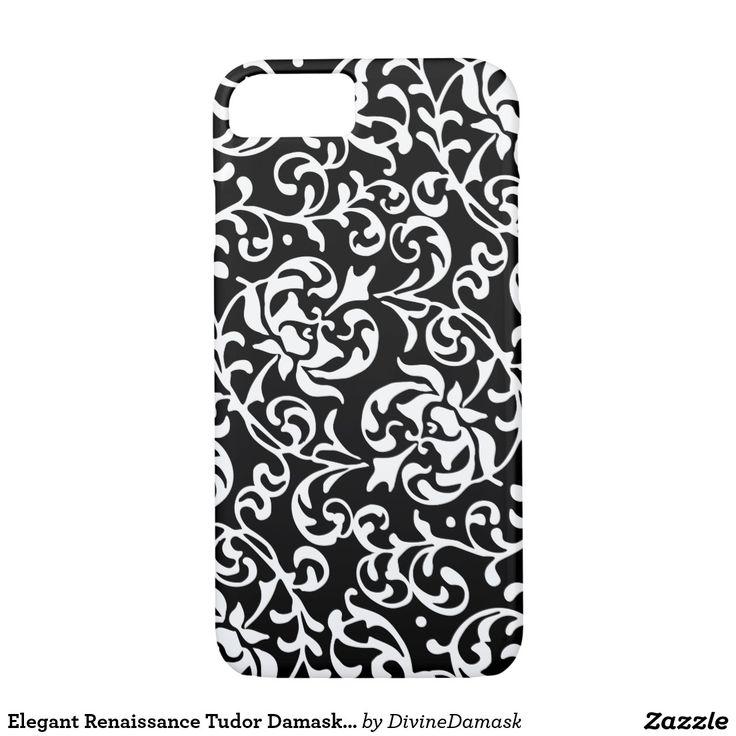 Elegant Renaissance Tudor Damask Black and White iPhone 7 Case