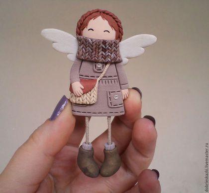 Броши ручной работы. Ярмарка Мастеров - ручная работа. Купить Брошь рыжий бохо-ангел. Handmade. Бежевый, брошка, ангел