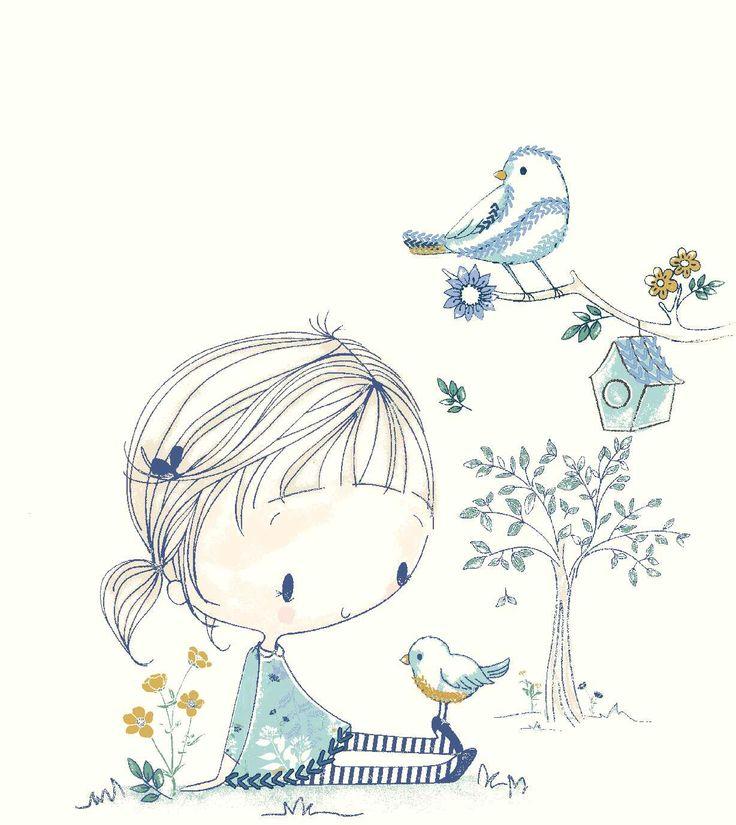 #ilustraciones #dibujos #drawing #girl #bird
