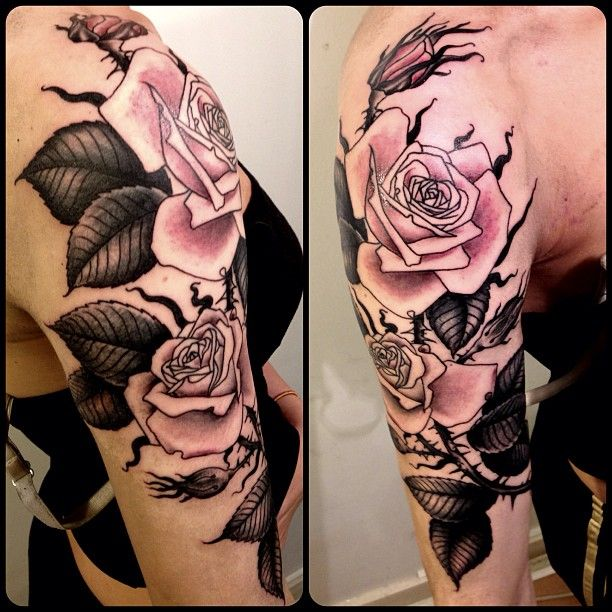 By Ryan Jessiman at the lovely Shangri La Tattoo Parlour in London, UK. Love the limited palette and detail.