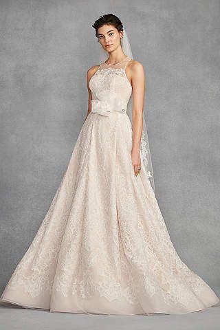 de3d6a97af3d David39s Bridal Embroidered Lace Wedding Dress with Floral Sash