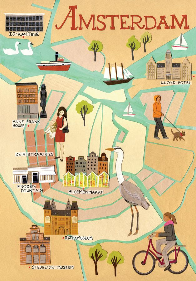 Illustrated map of Amsterdam