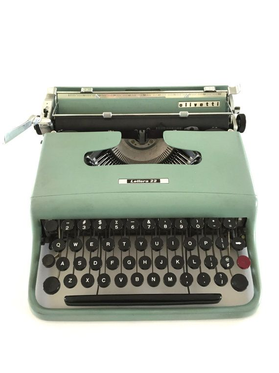 Vintage Olivetti Typewriter Lettera 22 Green Paint by NeatoKeen #vintageoffice