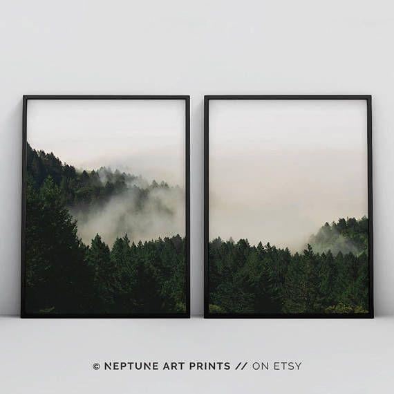 2 Stück Wandkunst bedruckbar, grünen Wald bedruckbar, Nebel Wald drucken, 2 Stück Wald drucken, grünen Wald drucken, Wald Fotografie Poster
