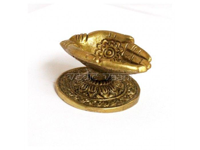 Hand Carved Brass Diya, Hand symbol oil lamp VedicVaani.com. Deeya decoration, Puja Lamps, Religious oil lamp, Deepam, Ghee Aarti Diyas online seller for Puja.