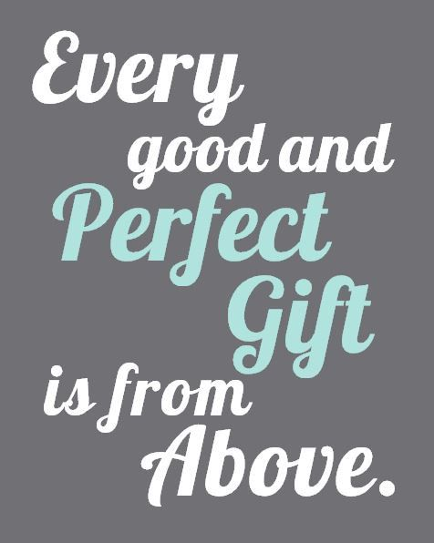 Every Good and Perfect Gift is From Above - Grey Aqua, Family Wall Art, James 1:17 Bible Verse, 8x10 Nursery, Adoption - Aqua, Teal