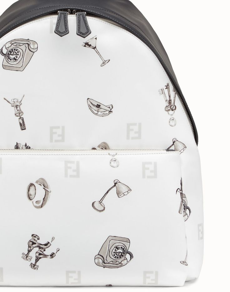 FENDI BACKPACK - White fabric and leather backpack - view 4 detail