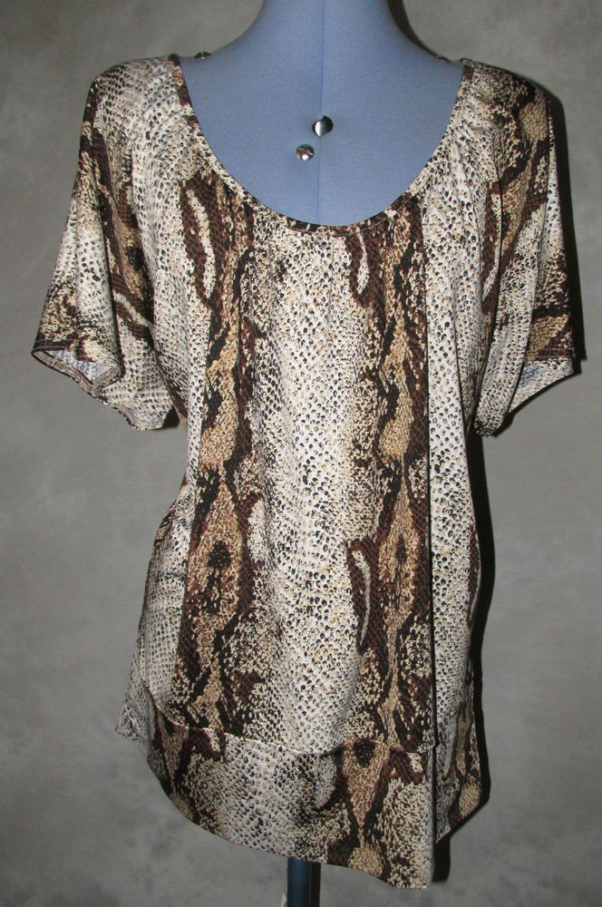 Ladies size 16 Casual Top Hip Length Snake Print cap sleeve Ultra Gorgeous Top.