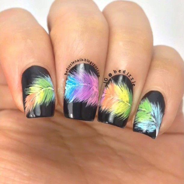 Rainbow feather nails