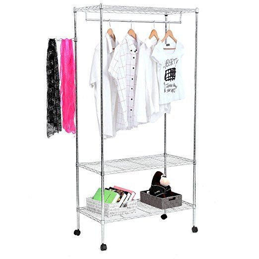 SONGMICS 3-Tier Heavy Duty Rolling Garment Clothes Rack with Shelves, Chrome Finish ULGR45C