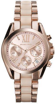 Michael Kors Mini Rose Golden/Blush Stainless Steel Bradshaw Chronograph Watch