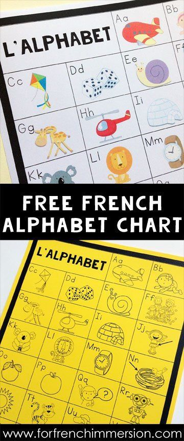 FREE French Alphabet Chart: students can keep the B&W version in their writing folders and the teacher can also print the color version to be used as a classroom poster! A French teacher's must-have tool :)