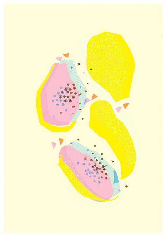 Pastel Papaya explosion art print. Abstract wall art .Colourful. bright . Yellow. Pink