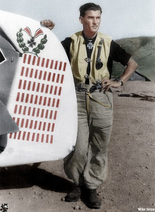 Heinrich Bartels. 99 victories. He was shot down 23 Dec 1944. His aircraft and his remains were found near Bad Godesberg 26 Jan 1968, 23 years later.