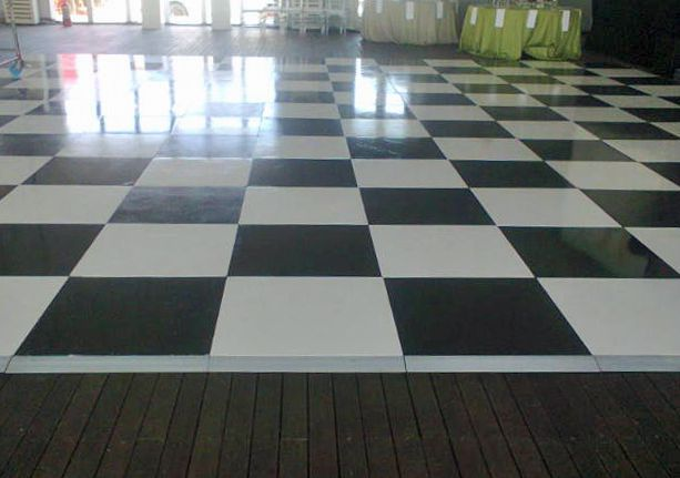 Black & white painted Connecta-Floor at The Lookout, V&A