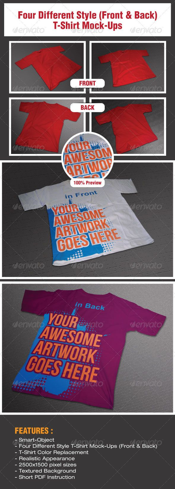 Scalable t shirt mockups more info - Four Different Style T Shirt Mock Ups