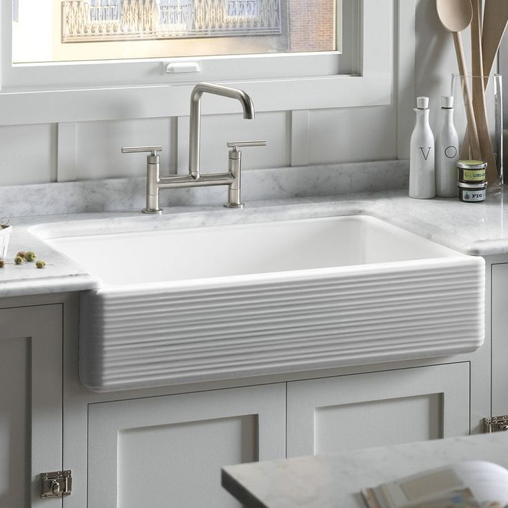 "Farmhouse sink - Kohler Whitehaven 35.69"" x 21.56"" Under Mount Single Bowl Kitchen Sink"