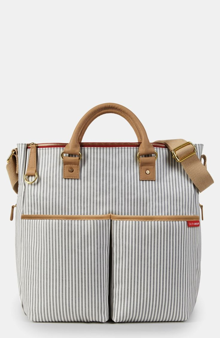 Free shipping and returns on Skip Hop 'Duo' Diaper Bag at Nordstrom.com. Durable cotton canvas composes a chic striped bag with eleven pockets to keep you organized. Features include a side pocket for a bottle, a cell-phone pocket and a cushioned changing pad.