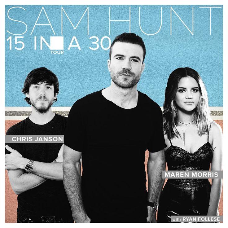 Sam Hunt announces 15 In A 30 Tour dates #SamHunt # ChrisJanson #MarenMorris #RyanFollese #15InA30