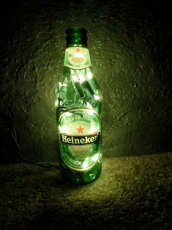 Lighted Glass Heineken Beer Bottle Decorative Lamp. $15.00, by SchulersGlassDecor via Etsy.